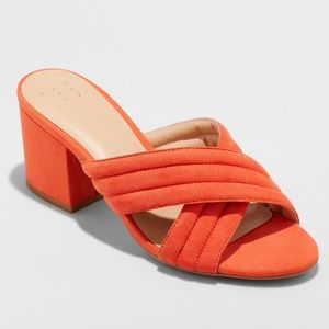 Coral suede mules